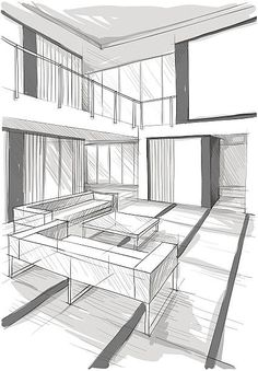 Interior Architecture Drawing, Concept Models Architecture, Interior Design Renderings, Drawing Interior, Interior Sketch, Architecture Design, Room Perspective Drawing, House Design Drawing, Illustration