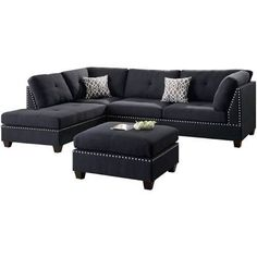 Hillsdale Sectional Sofa Set, Black, Sofas, by Infini