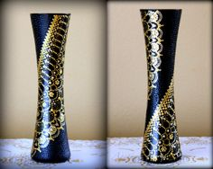 Hand decorated vase Gold lace- home-decor - gift idea.... Glass.