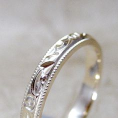 vintage unworn 1960's etched white gold wedding band from asecondtime.etsy.com