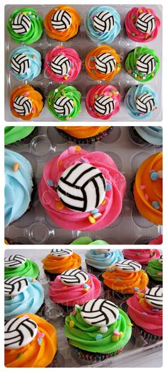 Volleyball Cupcakes by C Star Cakes #cstarcakes