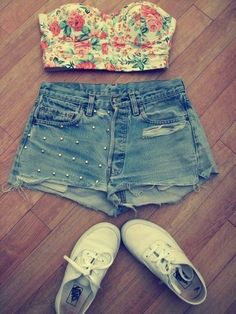 tank top, floral, bustier, crop top, high waisted short, vans, cut offs, cut off shorts, hipster, jeans shorts - Wheretoget