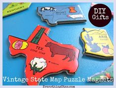 DIY Gifts - State Puzzle Magnets - Everything Etsy.com @Everything Etsy