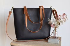 17c3fbddaa Black Natural Leather tote bag with camel color straps. Black and Camel Cap Sa  Sal. Etsy