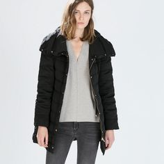 HP[zara] Black Long Down Jacket with Wrap Collar Color-Black, Sz-XS(armpit to armpit-18.5, length-31, Sleeve-25 inches), Material-100% Nylon, Lining: 80% Duck Down, 20% Feather :: Such a beautiful piece for this winter. It is such a warm coat, and it's so versatile and well-structured. Wrap collar and gold hardware throughout. Worn lightly, excellent condition. PRICE FIRM Zara Jackets & Coats Puffers