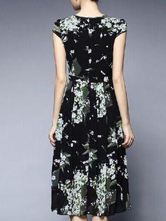 Dark Blue Polyester Printed Short Sleeve Midi Dress
