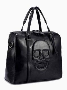 Embossed Skull Box Tote Bag In Black | Choies