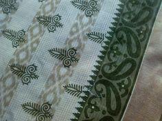 Ikat Block Print Handloom Cotton Fabric Henna Gold by RaajMa