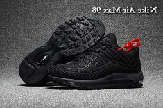 watch b7515 3ba97 Mens Supreme x Nike Air Max 98 KPU TPU Running Shoes All Black UK Trainers  Sale