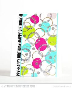 Handmade card from Stephanie Klauck featuring Party Patterns and Spotlight Sentiments stamp sets #mftstamps