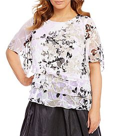 Alex Evenings Plus Printed Tiered Chiffon Blouse Plus Size Dresses, Plus Size Outfits, Plus Size Womens Clothing, Clothes For Women, Black Tie Formal, Sexy Women, Women Wear, Alex Evenings, Dress Collection