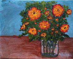 """Marigolds in a Jar.  Acrylic on canvas board 8 x 10"""" on canvas board.  $45.00 Canvas Board, Marigold, Jar, Paintings, Plants, Paint, Painting Art, Plant, Painting"""