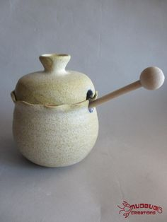 Ceramic Honey Pot  Tan and Blue by MudbugCreations on Etsy, $17.00