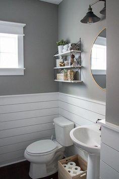 light gray and white bathroom design // white shiplap // light gray walls White Bathroom, Bathroom Interior, Bathroom Ideas, Bathroom Designs, Budget Bathroom, Bathroom Inspiration, Bathroom Inspo, Simple Bathroom, Lavender Bathroom
