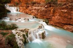 """Water of the Ancients""  I captured this image standing high above the raging torrent of Beaver Falls deep within narrow sidewalls of Redwall Limestone. Beaver Falls is the most difficult to access of a series of about five waterfalls located along Havasu Creek within the Havasupai Indian Reservation. Havasupai Arizona, Beaver Falls, Indian Reservation, Waterfalls, Deep, Usa, Places, Travel, Outdoor"