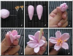 DIY Beautiful Polymer Clay Flower Step By Step - Art & Craft IdeasYou can find Polymer clay flowers and more on our DIY Beautiful Polym. Polymer Clay Kunst, Polymer Clay Projects, Polymer Clay Jewelry, Clay Earrings, Fondant Flower Tutorial, Fondant Flowers, Cold Porcelain Flowers, Ceramic Flowers, Flower Step By Step