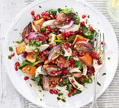 Roast chicken with sweet potato gremolata salad