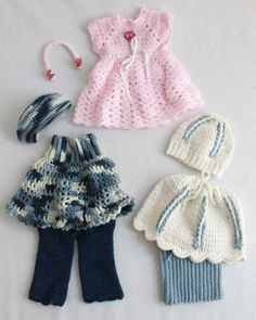 18 Dolls Abby, Allie and Annie Outfit Crochet Patterns Design by: Mary Pueschner Skill Level: Easy Size: Fits most 18 Crochet Doll Clothes, Girl Doll Clothes, Doll Clothes Patterns, Barbie Clothes, Doll Patterns, Girl Dolls, Crochet Patterns, Crochet Outfits, Ag Dolls