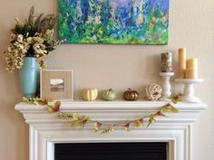 Simple fall mantle decor
