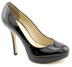 Joan & David Flipp Women Open Toe Patent Leather Black Platform Heel.