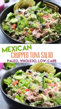 Mexican Chopped Tuna Salad: No Cooking, Paleo, Low-Carb! – Whole Kitche… Mexican Chopped Tuna Salad: No Cooking, Paleo, Low-Carb! – Whole Kitchen Sink Healthy Meals To Cook, Healthy Salad Recipes, Paleo Recipes, Mexican Food Recipes, Real Food Recipes, Healthy Eating, Dinner Recipes, Healthy Foods, Soup Recipes