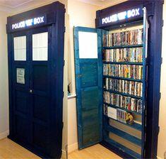 Doctor Who TARDIS built in bookcase. Go anywhere in time and space.A Doctor Who TARDIS built in bookcase. Go anywhere in time and space. Tardis Bookshelf, Dvd Bookcase, Built In Bookcase, Bookcases, Tardis Door, Building Bookshelves, Bookshelf Storage, Bookshelf Ideas, Bookshelf Design