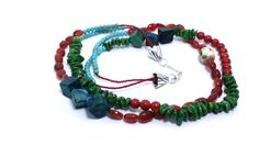 Necklace double strand sponge coral, red agate, yellow turquoise, magnesite by KelKatCustomJewelry on Etsy