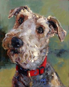 """Oil portrait by Portraits, Inc. artist My precious Wirehair Fox terrier pals gave me that attentive """"look"""" in every """"conversation"""" with them."""