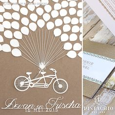 Wedding Guest book wooden board with bicycle and baloons by www.pistachiodesigns.co.za Wedding Guest Book, Pistachio, Reception, Stationery, Bicycle, Board, Design, Pistachios, Bike