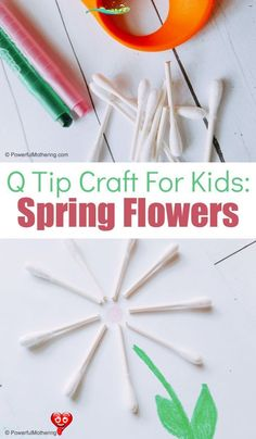 A Simple Spring Craft For Kids - easy crafts An adorable and easy spring flower craft for kids using q-tips. This is fantastic for strengthening creativity and fine motor skills! #craft #easy spring crafts for toddlers fine motor #kids #Simple #spring<br> An adorable and easy spring flower craft for kids using q-tips. This is fantastic for strengthening creativity and fine motor skills! Craft Projects For Kids, Craft Activities For Kids, Preschool Crafts, Fun Crafts, Preschool Kindergarten, Preschool Learning, Preschool Ideas, Learning Activities, Art Projects