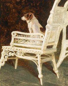 """Jamie Wyeth, """"Yolk and the Wicker Chair"""", 1987."""