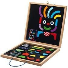 This magnetic board with magnetic pieces lets you make make all sorts of different characters! includes wooden magnets, wooden storage box and direction cards. Contains 20 idea cards Contains 35 pieces Recommended age Dimensions: x x inches Plan Toys, Wooden Storage Boxes, Travel Toys, Toys Online, Card Patterns, Wood Toys, Pattern Blocks, Educational Toys, Kids Playing