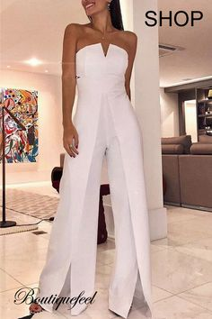 Notched Neck Strapless Slit Wide Leg Jumpsuit
