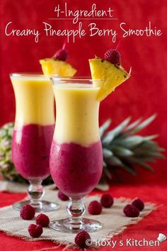 Creamy Pineapple Berry Smoothie - From improving digestion to lowering cholesterol & blood pressure, boosting your immune system and preventing early ageing, tooth decaying & cancer, this smoothie does it all! Berry Smoothie Recipe, Juice Smoothie, Smoothie Drinks, Healthy Smoothies, Healthy Drinks, Healthy Snacks, Healthy Recipes, Pineapple Smoothie Recipes, Frozen Fruit Smoothie