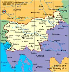 The map of #Slovenia and neighbouring countries.