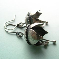 Argentium Sterling Silver Earrings Musical Bell Flower by Mocahete