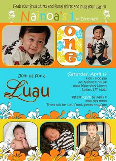 Custom Photo Card Baby boy first birthday LUAU, $15.00