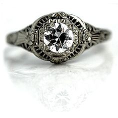 Antique 18 Kt White Gold Old European Cut Diamond Engagement Ring Circa Early 1900's #weddings