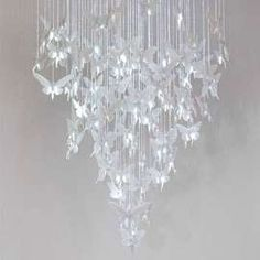 Lladro Re-Cyclos collection Paper Chandelier, Chandelier Lighting, Butterfly Lighting, Butterfly Wedding, Elle Decor, Decoration, Wind Chimes, Home Accessories, Glass Art