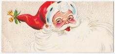 Vintage Greeting Card Christmas Santa Claus Face Flocked Glitter Mid-Century