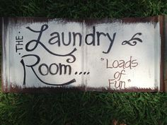 Laundry Room sign, painted on tin. #DIY
