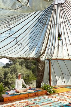 pendleton blankets in angela lindvall's yoga studio yoga space, model, back patio, california homes, yoga studios, yurt, tent, angela lindval, hous