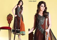 Zahra Ahmad White Net Frock Price in Pakistan, Jamawar Lace, Green Golden Contrace, party wear summer dresses designs for women and girls.