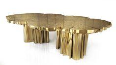 Table design original / en or / rectangulaire FORTUNA BOCA DO LOBO