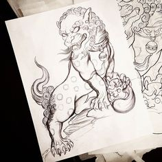 #sketch #art #design #tattoo #japanesetattoo #fudog #foodog #daruma #darumaink