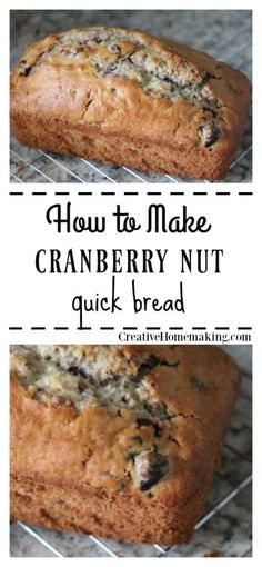 Easy cranberry nut bread recipe to make for fall and Thanksgiving. One of my favorite fall recipes! Easy cranberry nut bread recipe to make for fall and Thanksgiving. One of my favorite fall recipes! Dessert Bread, Dessert Recipes, Drink Recipes, Quick Bread Recipes, Healthy Nut Bread Recipe, Sweet Bread Machine Recipes, Walnut Bread Recipe, Breakfast Bread Recipes, Banana Recipes