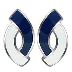City Girl - Navy and White Enamel Overplayed Stainless Steel Dashing Style Earrings