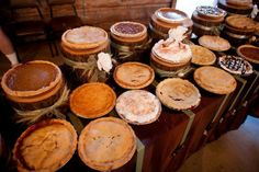 """Pie, the ultimate comfort food synonymous with the fall season is one of the hottest trends out there right now in rustic wedding desserts. Think about having a full """"pie bar"""" where guests can pick their favorite flavor or end the evening by giving all your guests a mini pie to take home. - #CountryWedding #CowgirlWedding"""