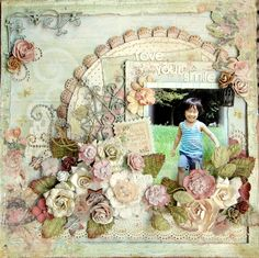 Scrapbook Page Floral ⊱✿-✿⊰ Join 750 people and follow the Scrapbook Pages board for Scrapping inspiration ⊱✿-✿⊰