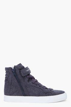 PIERRE HARDY Grey Flannel Sneakers